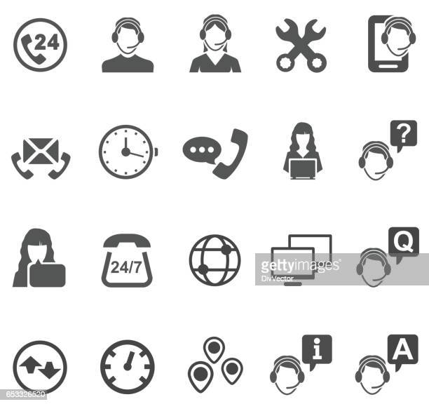 telemarketer icons - customer service representative stock illustrations