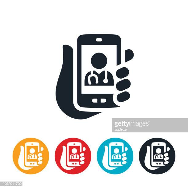 telemedicine from smartphone icon - telemedicine stock illustrations