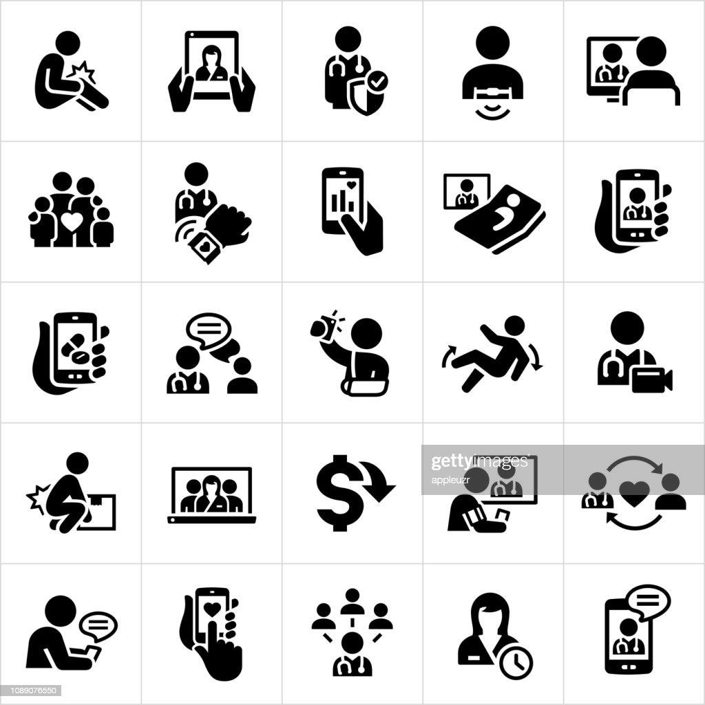 Icone della telemedicina : Illustrazione stock