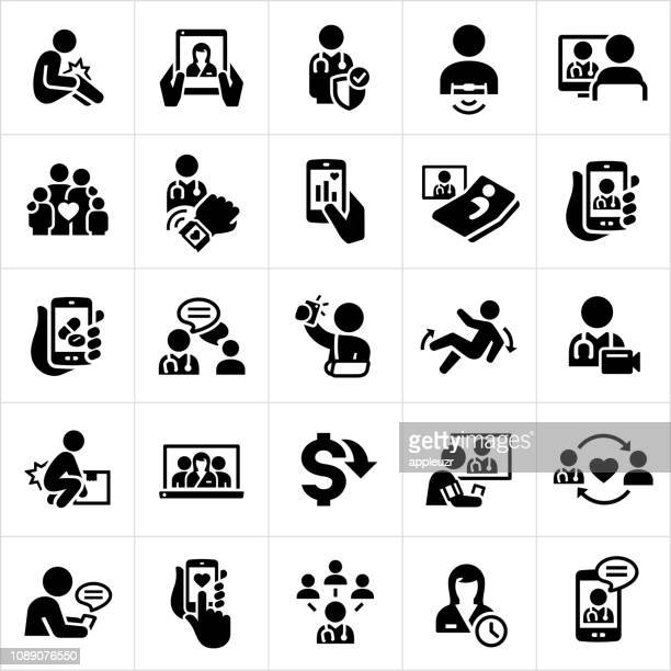 telemedicine icons - accidents and disasters stock illustrations