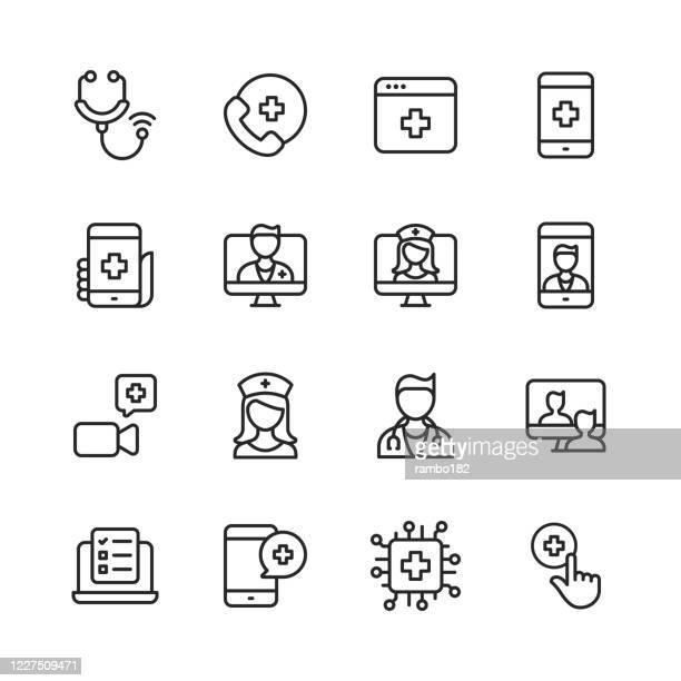 遠隔医療ラインアイコン。編集可能なストローク。ピクセルパーフェクト。モバイルとウェブ用。聴診器、遠隔医療、デジタルヘルスケア、医師とのビデオ通話、オンライン相談、看護師、� - 人里離れた点のイラスト素材/クリップアート素材/マンガ素材/アイコン素材
