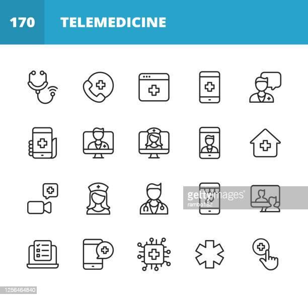 遠隔医療ラインアイコン。編集可能なストローク。ピクセルパーフェクト。モバイルとウェブ用。聴診器、遠隔医療、デジタルヘルスケア、医師とのビデオ通話、オンライン相談、看護師、� - 医療処置点のイラスト素材/クリップアート素材/マンガ素材/アイコン素材