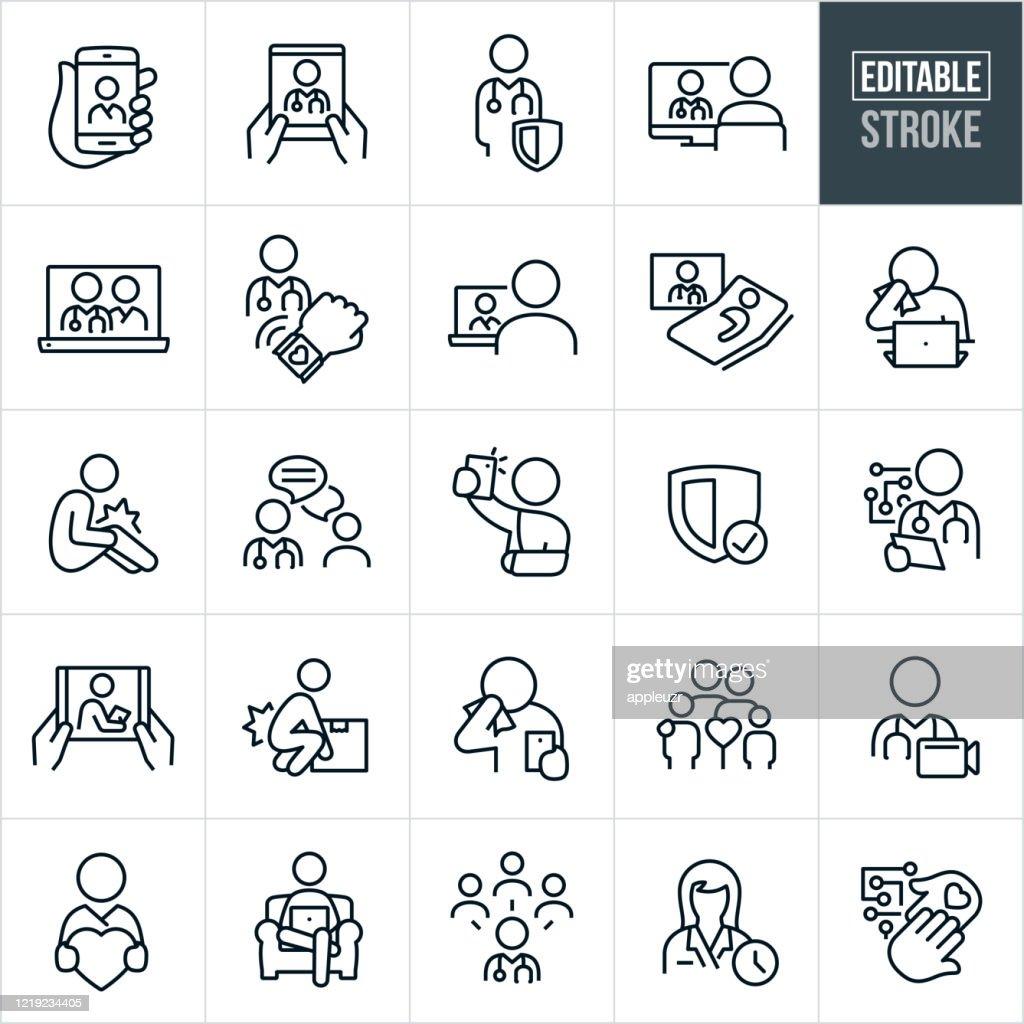 Icone della linea sottile della telemedicina - Tratto modificabile : Illustrazione stock