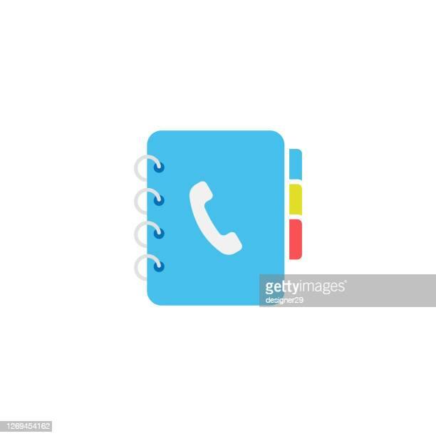 telefon und adresse buch icon flat design. - adressbuch stock-grafiken, -clipart, -cartoons und -symbole