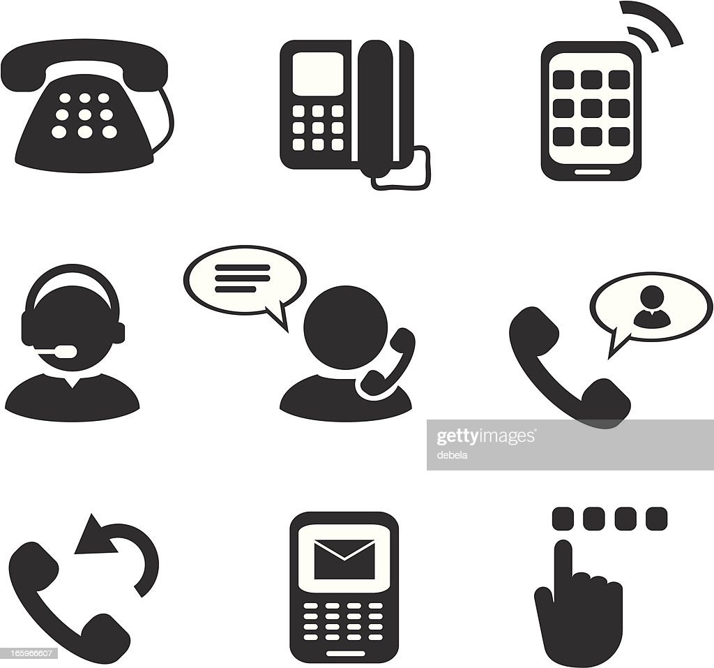 Telephone And Mobile Phone Icons