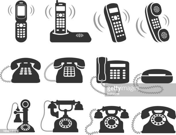 telephone black and white royalty free vector icon set - obsolete stock illustrations