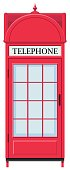 Telephone booth in red
