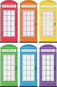 Telephone booths in six colors