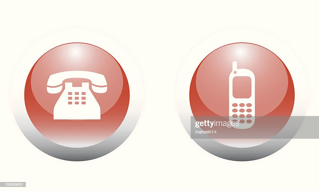 Telephone & Cellphone Icon Buttons