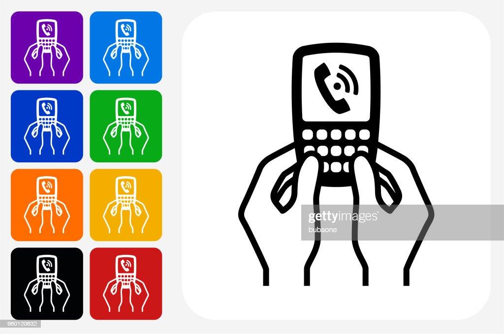 Telefon kommunikation ikonen Square knappen Set : Illustrationer