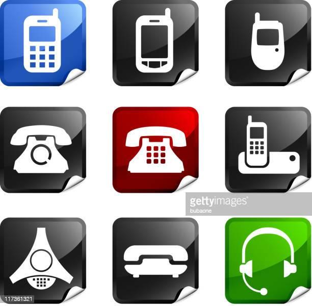 telephone communication technology nine royalty free vector icon set