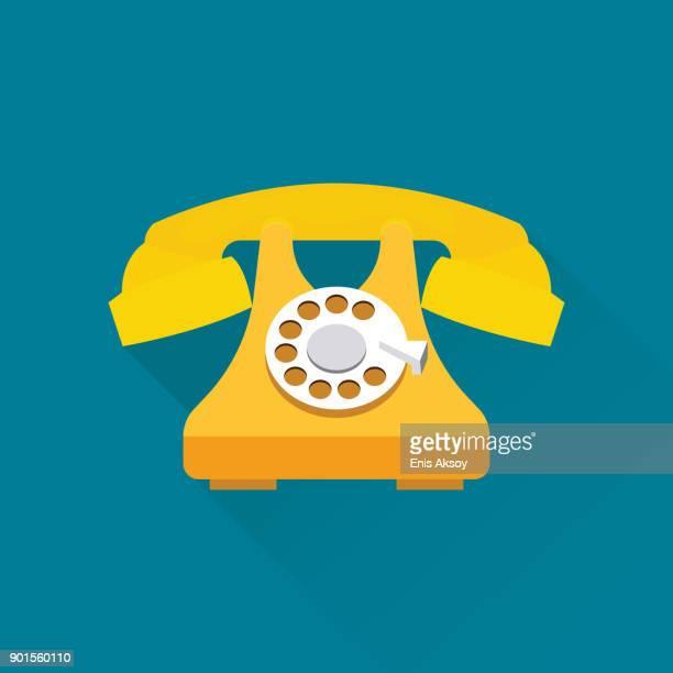 ilustrações, clipart, desenhos animados e ícones de ícone de telefone liso - telefone