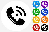 Telephone Icon on Flat Color Circle Buttons