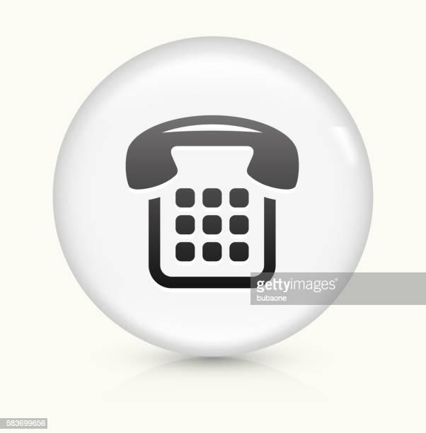 Telefon Symbol auf weißer Runder Vektor Knopf