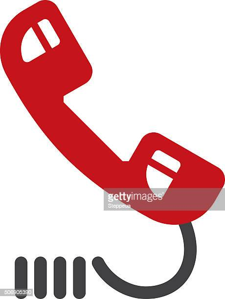 telephone icon - phone cord stock illustrations, clip art, cartoons, & icons