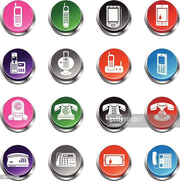 Telephone Icons - 3D Push Button Series