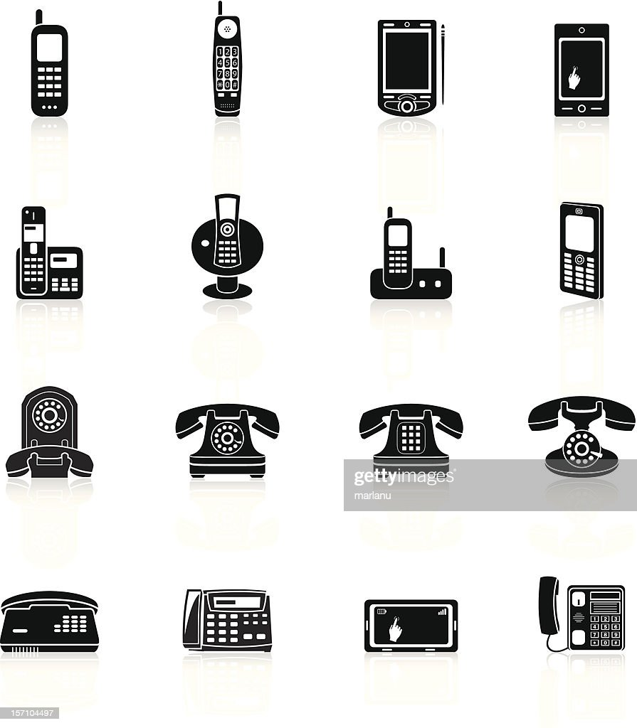 Telephone Icons - Black Series : stock illustration