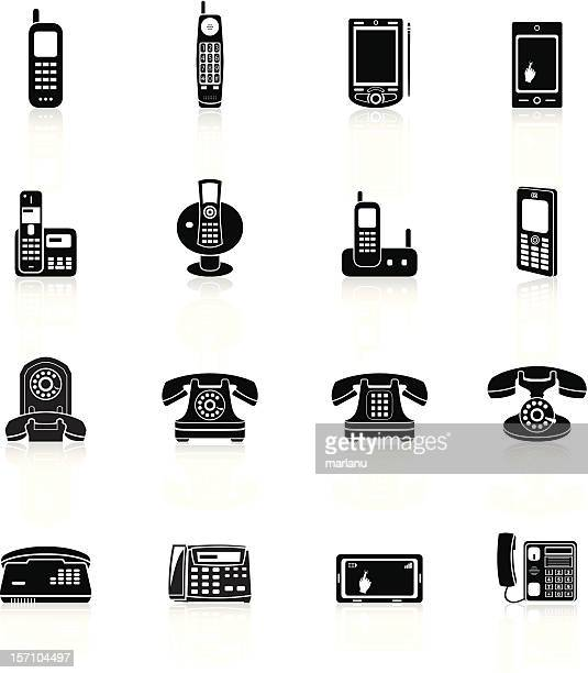 telephone icons - black series - answering machine stock illustrations, clip art, cartoons, & icons