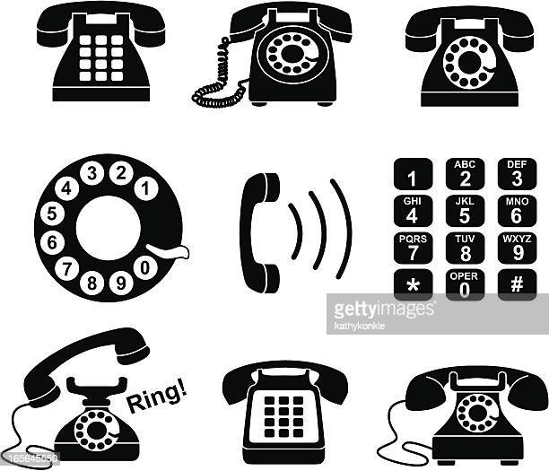 telephone icons - phone cord stock illustrations, clip art, cartoons, & icons