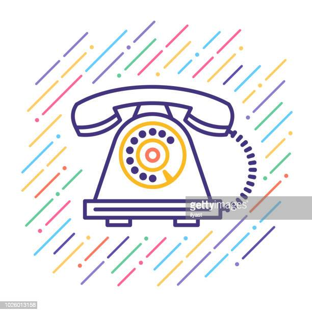 telephone line icon - telephone line stock illustrations, clip art, cartoons, & icons