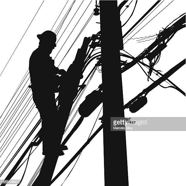 telephone lines worker - steel cable stock illustrations
