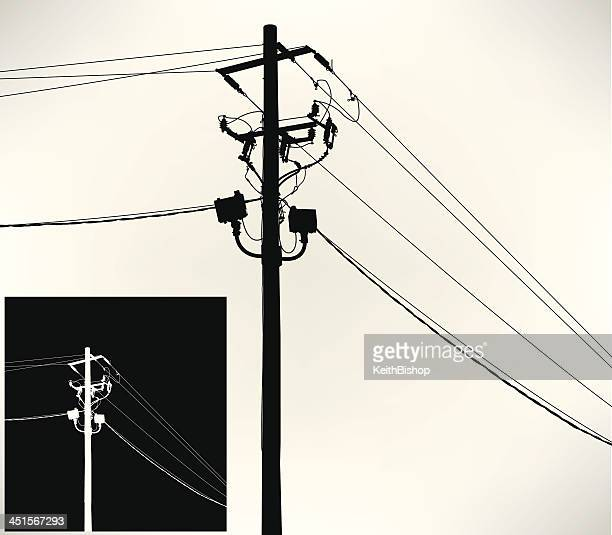 telephone pole or power line - steel cable stock illustrations
