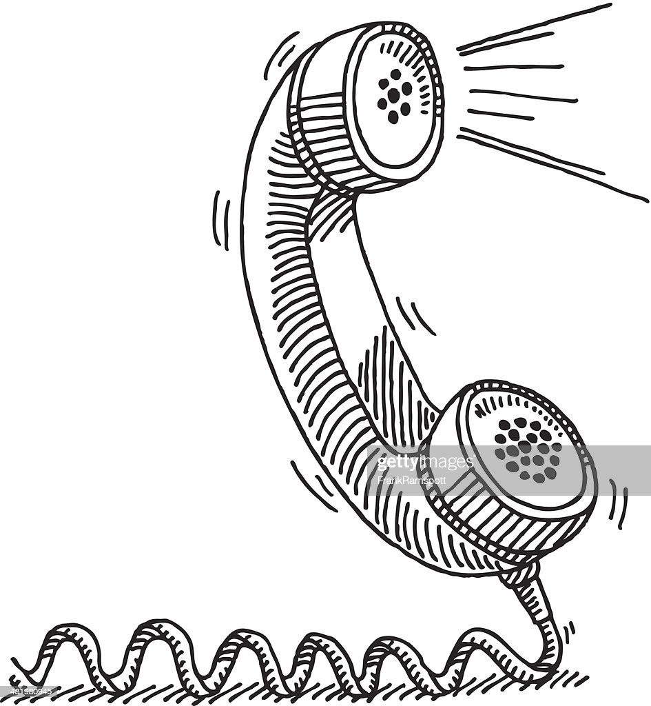 Telephone Receiver Active Voice Drawing : Stock Illustration