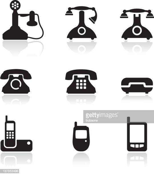 telephone royalty free vector icon set - telephone line stock illustrations, clip art, cartoons, & icons