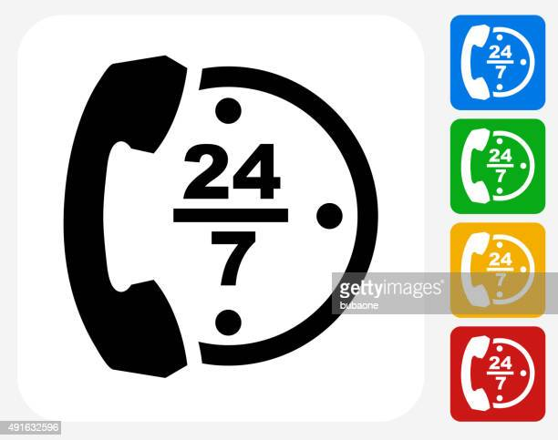 24/7 Telephone Service Icon Flat Graphic Design