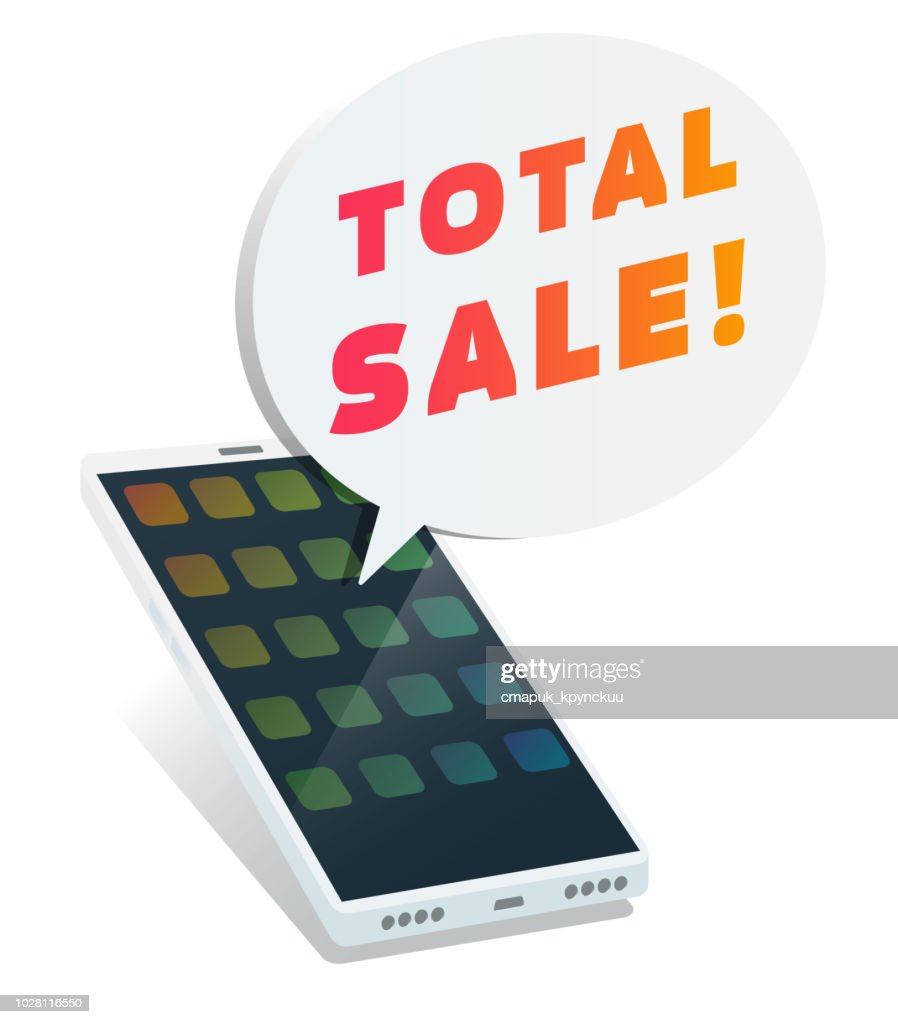 Telephone with total sale text in bubble