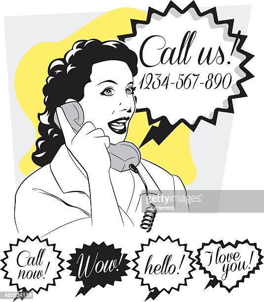 telephonist in retro - answering machine stock illustrations, clip art, cartoons, & icons