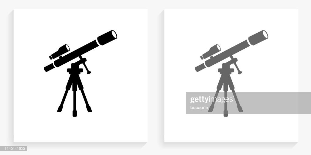 Telescope and Finder Scope on Tripod Black and White Square Icon