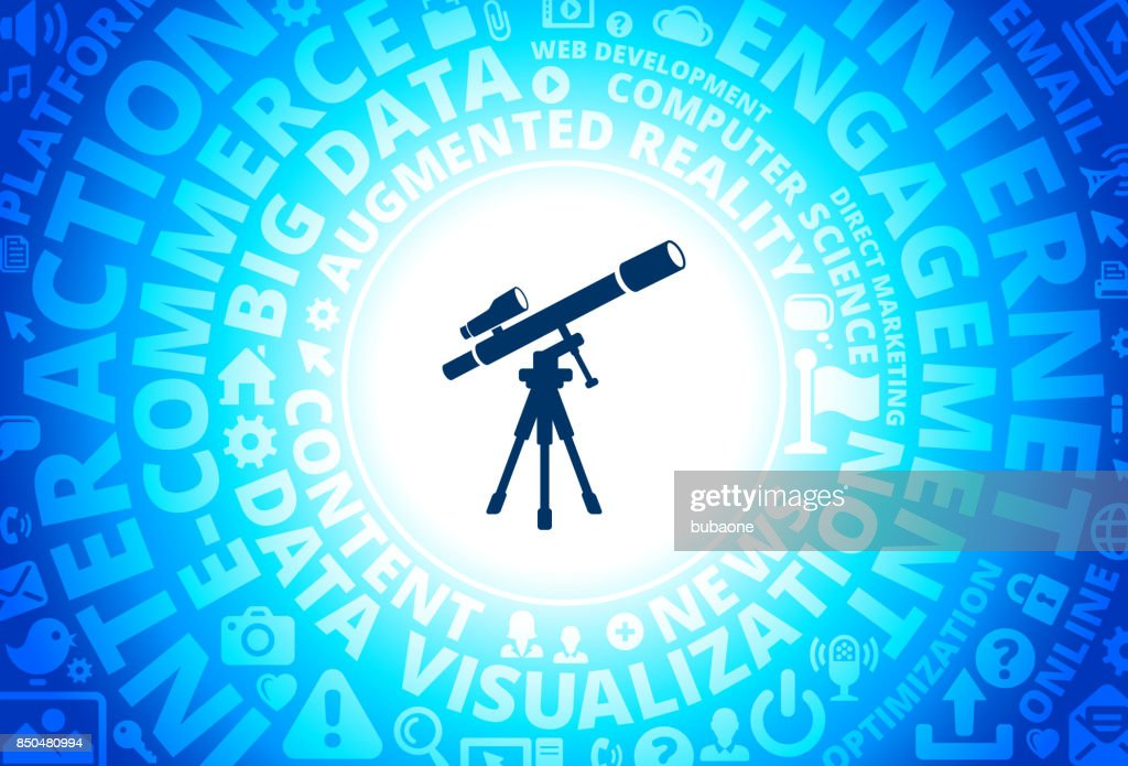 Telescope and Finder Scope on Tripod Icon on Internet Modern Technology Words Background : stock illustration