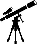 Telescope and Finder Scope on Tripod Icon with Long Shadow