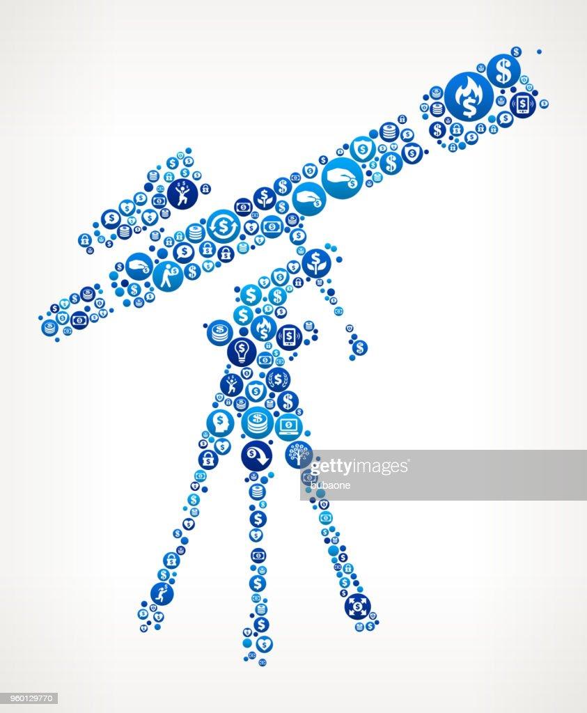 Teleskop und Finder Umfang auf Stativ Geld blaues Symbol Muster Hintergrund : Stock-Illustration