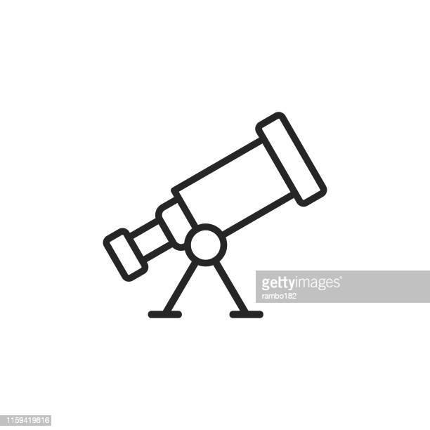 telescope, astronomy line icon. editable stroke. pixel perfect. for mobile and web. - telescope stock illustrations