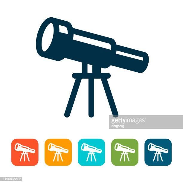 telescope icon. astronomy concept - telescope stock illustrations