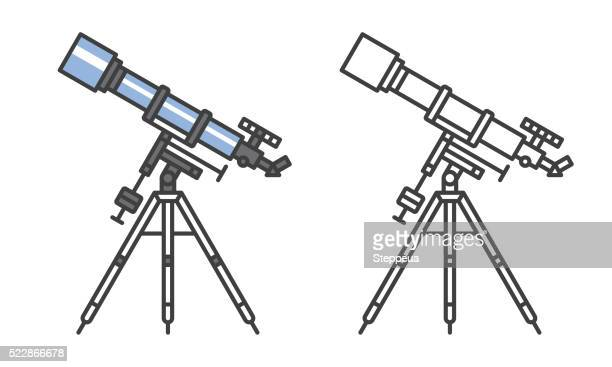 telescope icon - camera tripod stock illustrations, clip art, cartoons, & icons