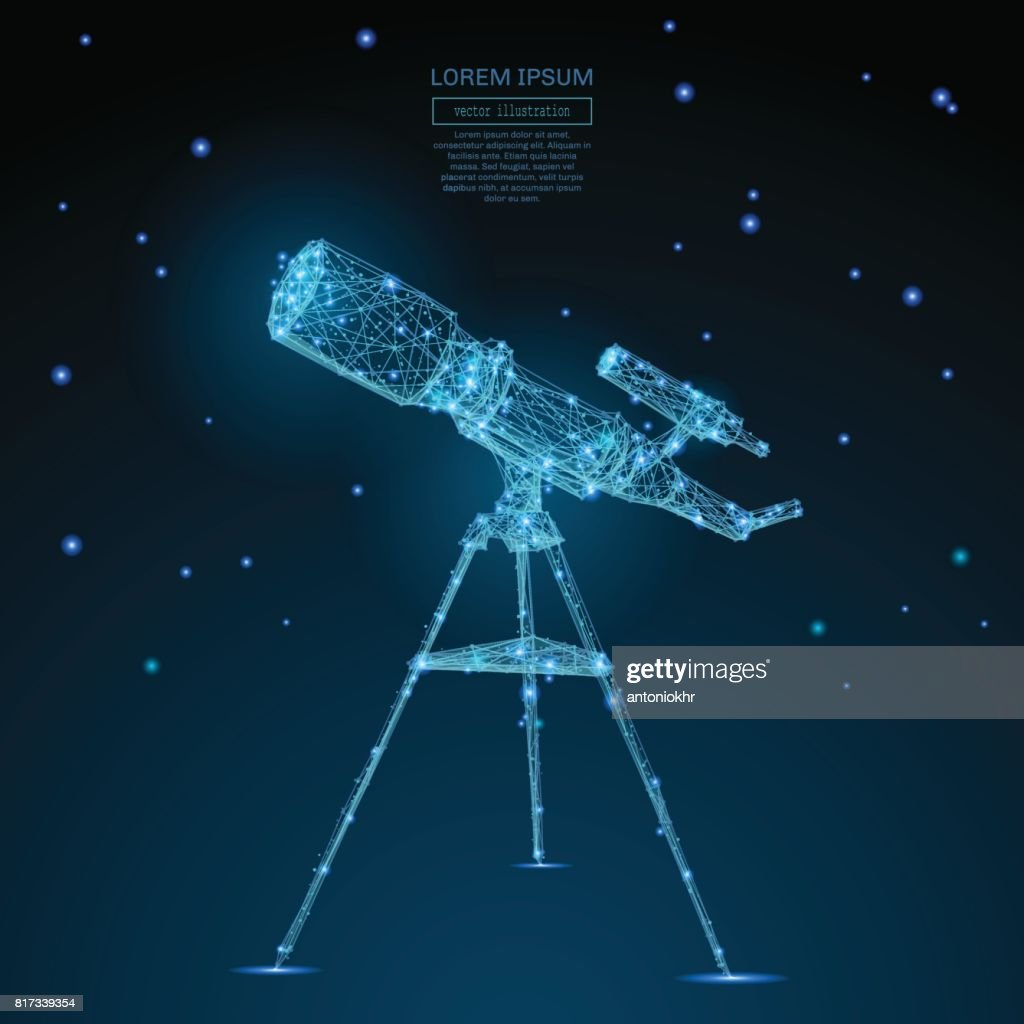 telescope low poly blue