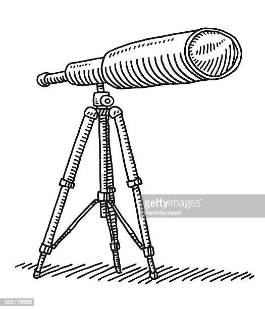 telescope on tripod drawing - camera tripod stock illustrations, clip art, cartoons, & icons