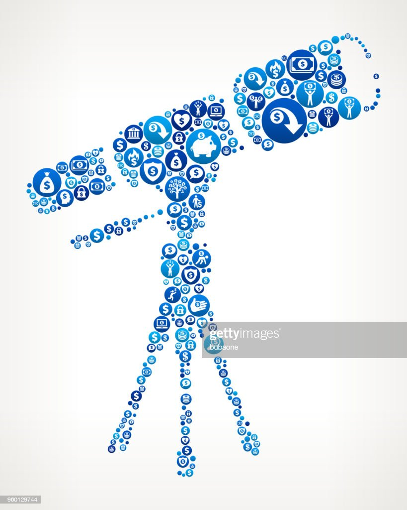 Teleskop auf dem Stativ Geld blaues Symbol Muster Hintergrund : Stock-Illustration