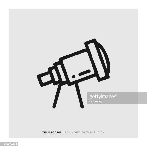 telescope rounded line icon - camera tripod stock illustrations, clip art, cartoons, & icons