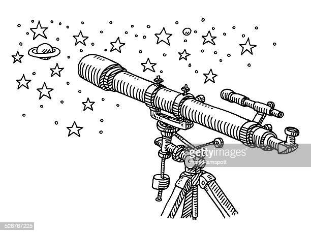 Telescope Space Exploration Stars Drawing