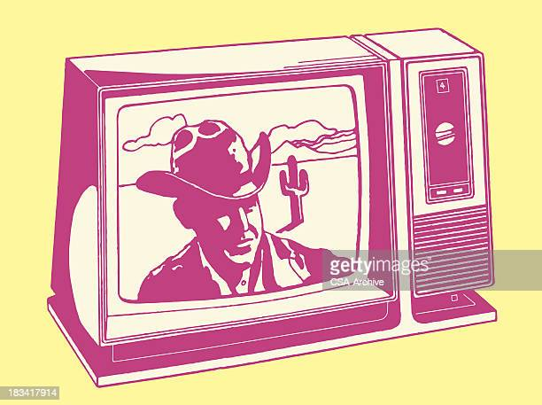 stockillustraties, clipart, cartoons en iconen met television airing a cowboy show - television show
