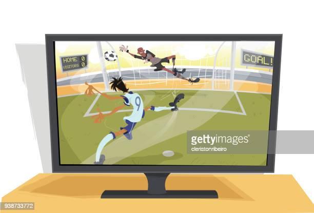 a televisão e o futebol - entusiástico stock illustrations