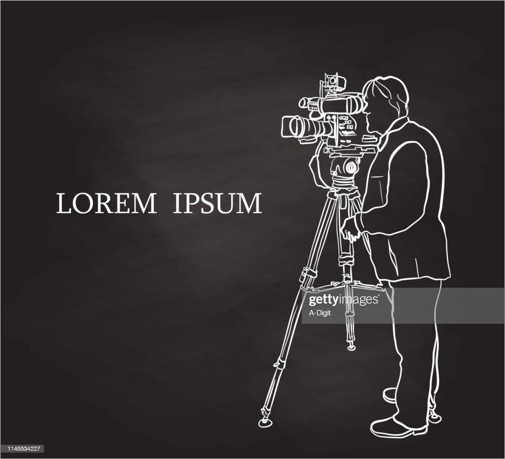 Television Broadcast Cameraman Chalk Drawing : stock illustration
