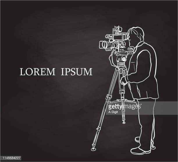 Television Broadcast Cameraman Chalk Drawing