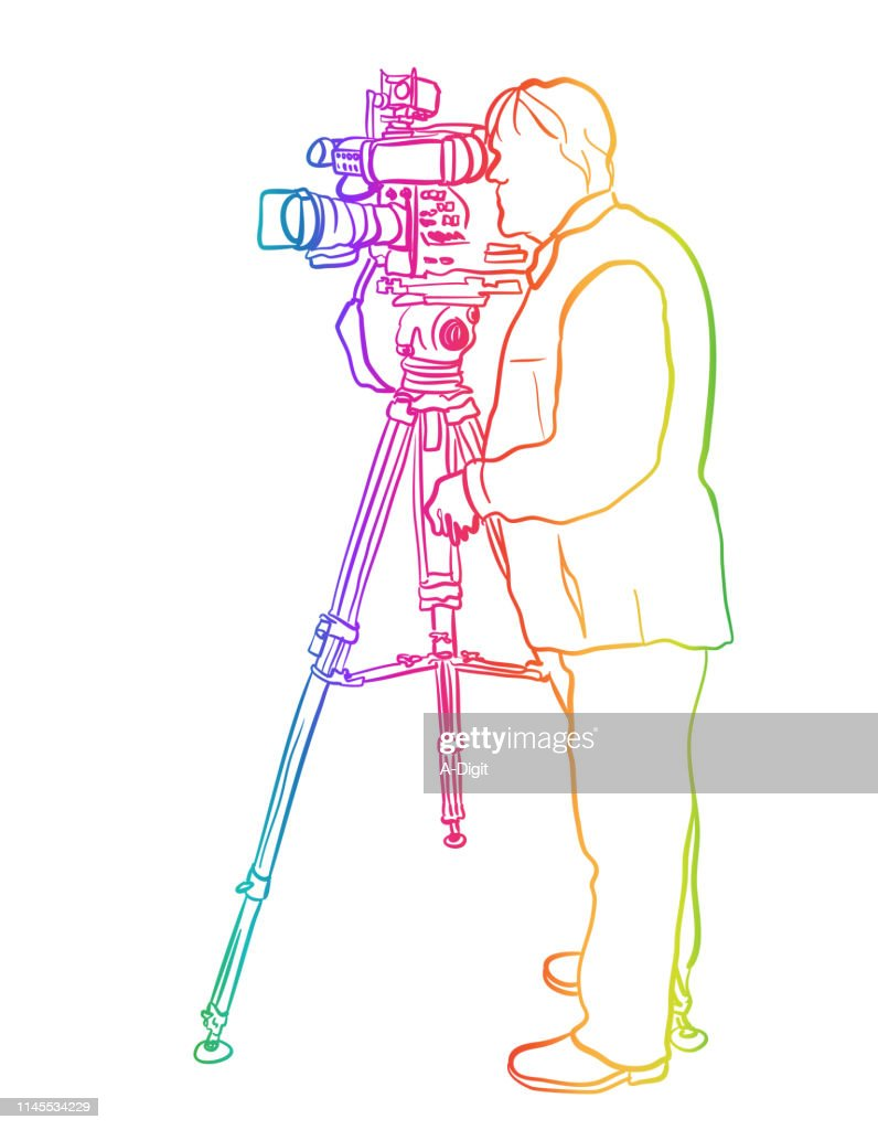 Television Broadcast Cameraman Rainbow : Stock Illustration