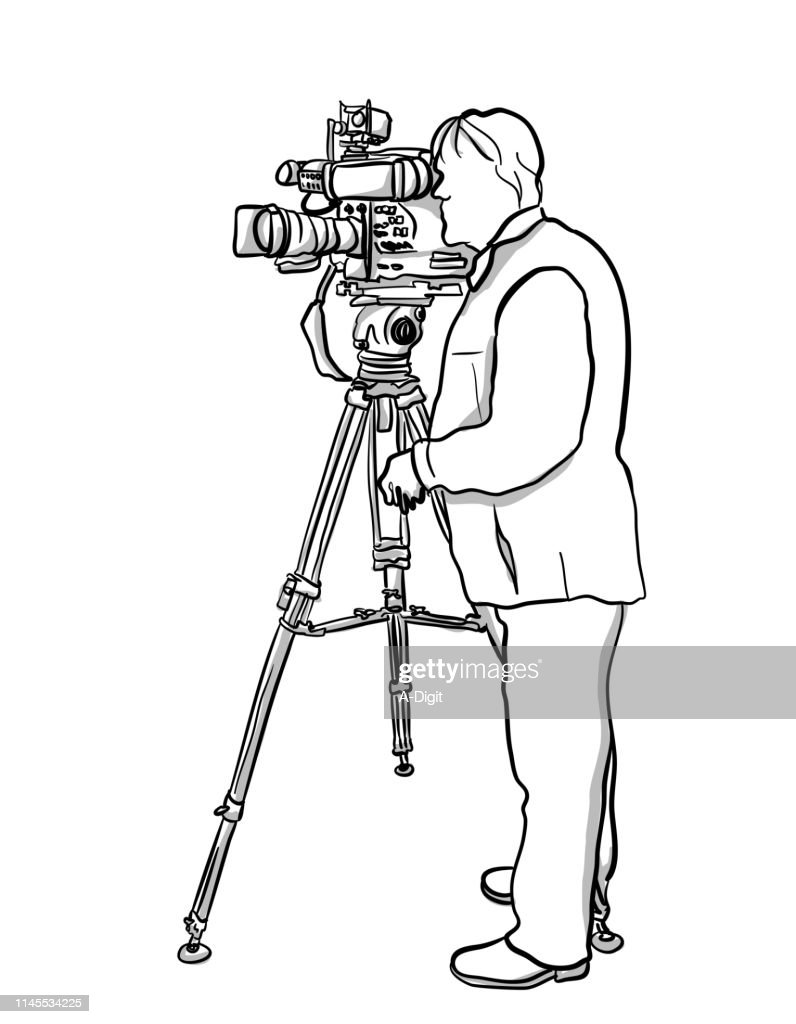 Television Broadcast Cameraman : stock illustration