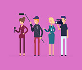Television crew at work - modern flat design style isolated illustration